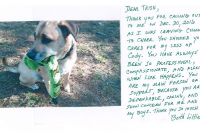 A thank you letter from a pet owner named Beth who lost her dog Cody