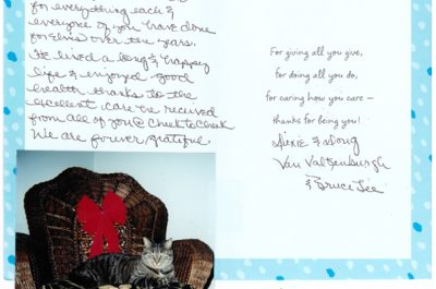 A thank you letter from two cats named Dixie and Doug