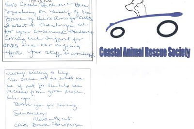 A thank you letter from the Coastal Animal Rescue Society