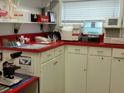 The lab in the back of the clinic. Pictured are various medical devises used in diagnosing medical problems